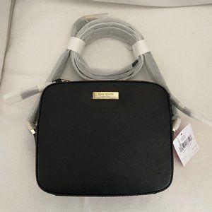 Kate Spade black leather camera bag crossbody NWT